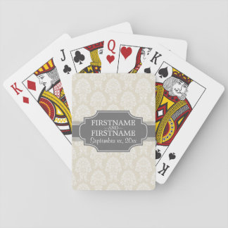 Linen Beige and Charcoal Damask Pattern Playing Cards