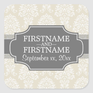 Linen Beige and Charcoal Damask Pattern Square Sticker