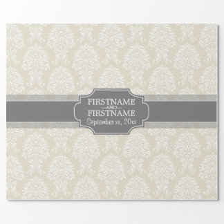 Linen Beige and Charcoal Damask Pattern Wrapping Paper