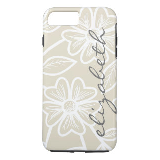 Linen Beige and Charcoal Floral Illustration Name iPhone 8 Plus/7 Plus Case