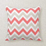 Linen Beige and Coral Chevron Throw Pillow