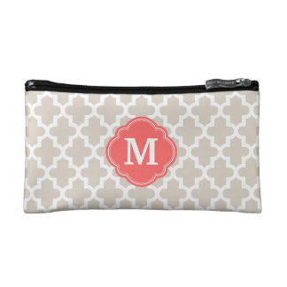 Linen Beige and Coral Modern Moroccan Monogram Cosmetic Bags