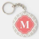 Linen Beige and Coral Modern Moroccan Monogram Basic Round Button Keychain