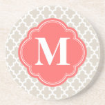 Linen Beige and Coral Modern Moroccan Monogram Coasters