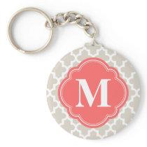 Linen Beige and Coral Modern Moroccan Monogram Keychain
