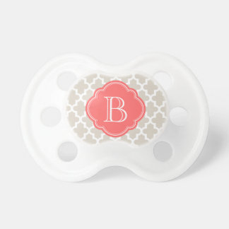 Linen Beige and Coral Modern Moroccan Monogram Pacifier