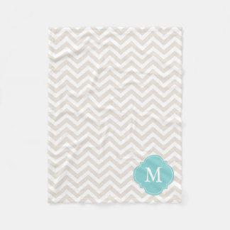 Linen Beige and Mint Zigzag Pattern Monogram Fleece Blanket
