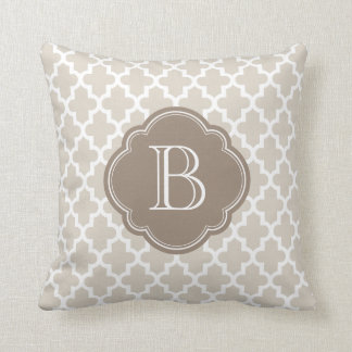 Linen Beige and Mocha Modern Moroccan Monogram Throw Pillow