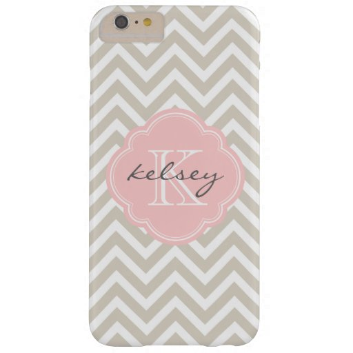 Linen Beige and Pink Chevron Custom Monogram Barely There iPhone 6 Plus Case