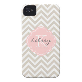 Linen Beige and Pink Chevron Custom Monogram iPhone 4 Case-Mate Cases