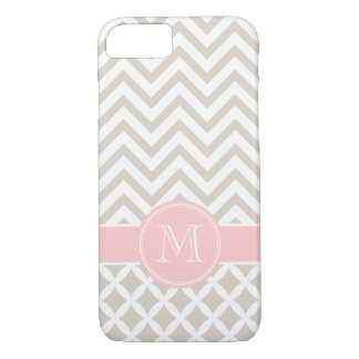 Linen Beige and Pink Chevron Custom Monogram iPhone 7 Case