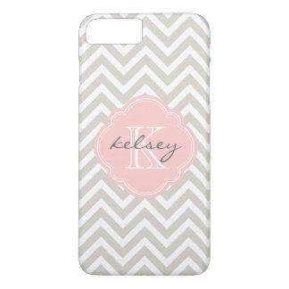 Linen Beige and Pink Chevron Custom Monogram iPhone 8 Plus/7 Plus Case
