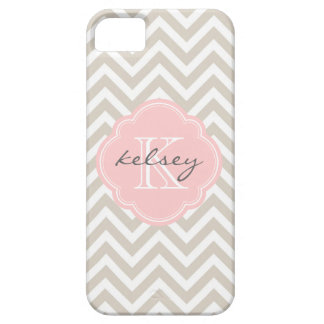 Linen Beige and Pink Chevron Custom Monogram iPhone SE/5/5s Case