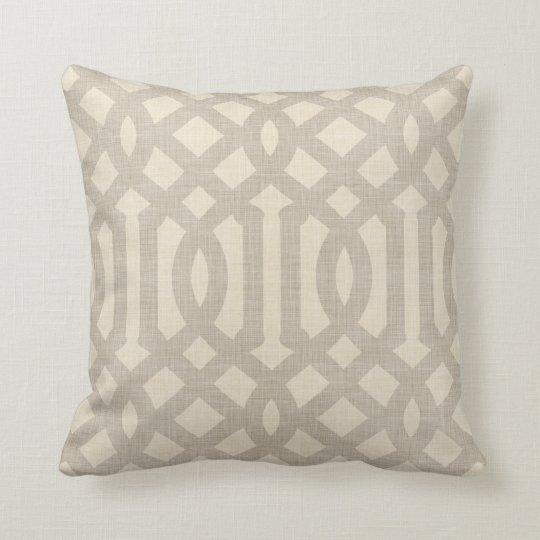 Linen Beige and Taupe Modern Trellis Throw Pillow Zazzle
