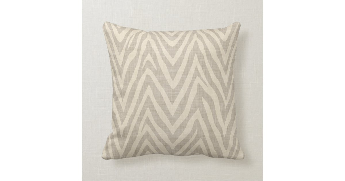 Linen Beige and Taupe Zebra Print Throw Pillow Zazzle