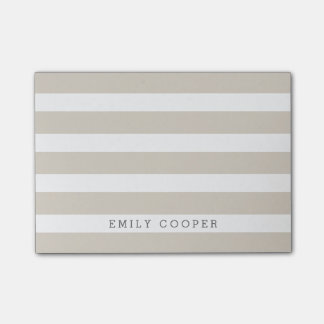 Linen Beige and White Classic Stripes Monogram Post-it® Notes