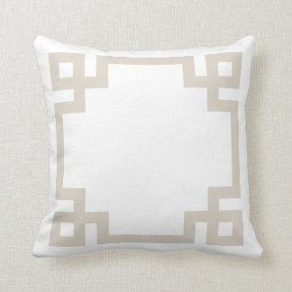 Linen Beige and White Greek Key Border Pillow