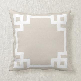 Linen Beige and White Greek Key Border Throw Pillow