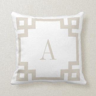 Linen Beige and White Greek Key Monogram Throw Pillow