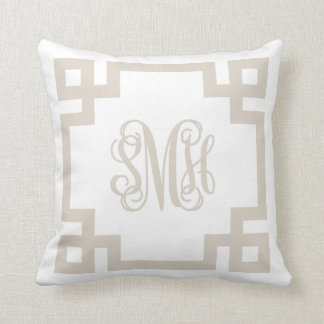 Linen Beige and White Greek Key Script Monogram Throw Pillow