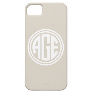 Linen Beige and White Preppy Circle Monogram iPhone SE/5/5s Case