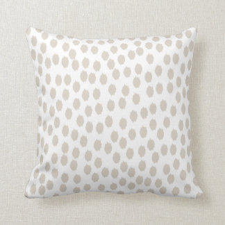 Linen Beige and White Scattered Dots Throw Pillow