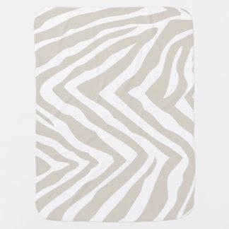 Linen Beige and White Zebra Stripes Baby Blanket