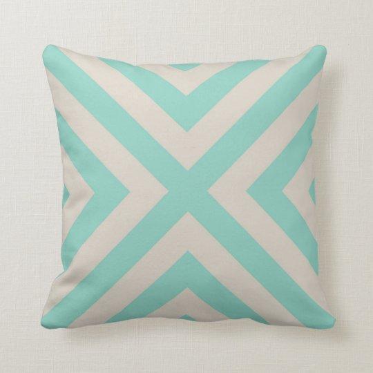 Linen Beige & Aqua Modern Chevron Stripes Throw Pillow