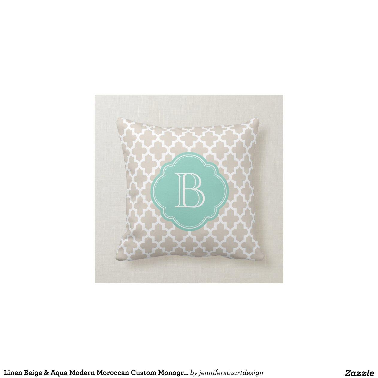 Linen Beige & Aqua Modern Moroccan Custom Monogram Pillow Zazzle