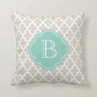 Linen Beige & Aqua Modern Moroccan Custom Monogram Pillows