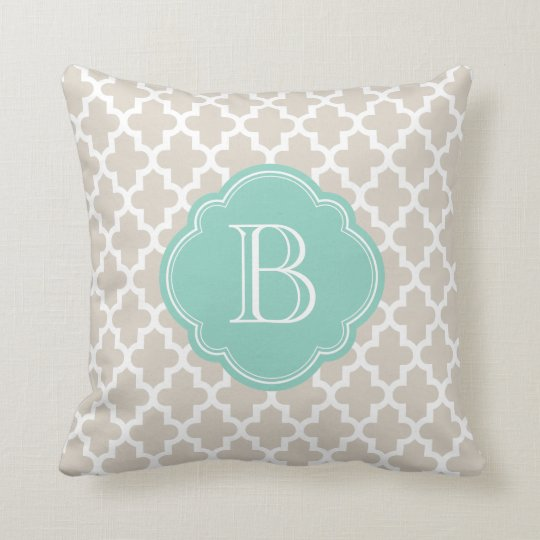 Linen Beige & Aqua Modern Moroccan Custom Monogram Throw Pillow