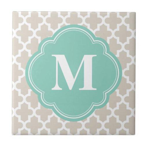 Linen Beige & Aqua Modern Moroccan Custom Monogram Tile