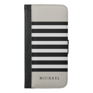 Linen Beige Black Grey Stripes - Simple Stylish