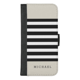 Linen Beige Black Grey Stripes - Simple Stylish iPhone 8/7 Plus Wallet Case