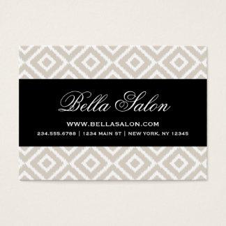 Linen Beige & Black Ikat Diamonds Business Card