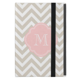 Linen Beige Chevron Custom Monogram Cover For iPad Mini