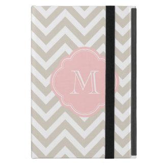 Linen Beige Chevron Custom Monogram iPad Mini Cover