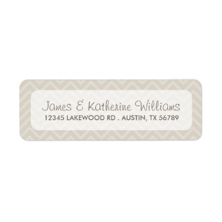 Linen Beige Chevron Stripes Modern Wedding Custom Return Address Labels