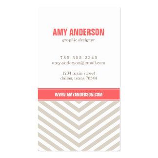 Linen Beige Coral Modern Chevron Stripes Business Card Template