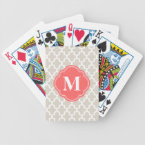 Linen Beige & Coral Modern Moroccan Monogram Bicycle Playing Cards