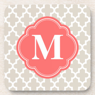 Linen Beige & Coral Modern Moroccan Monogram Coaster
