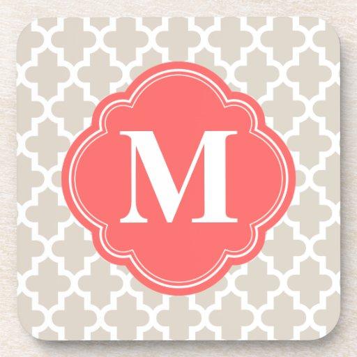 Linen Beige & Coral Modern Moroccan Monogram Coasters