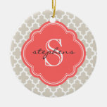 Linen Beige & Coral Modern Moroccan Monogram Christmas Ornaments