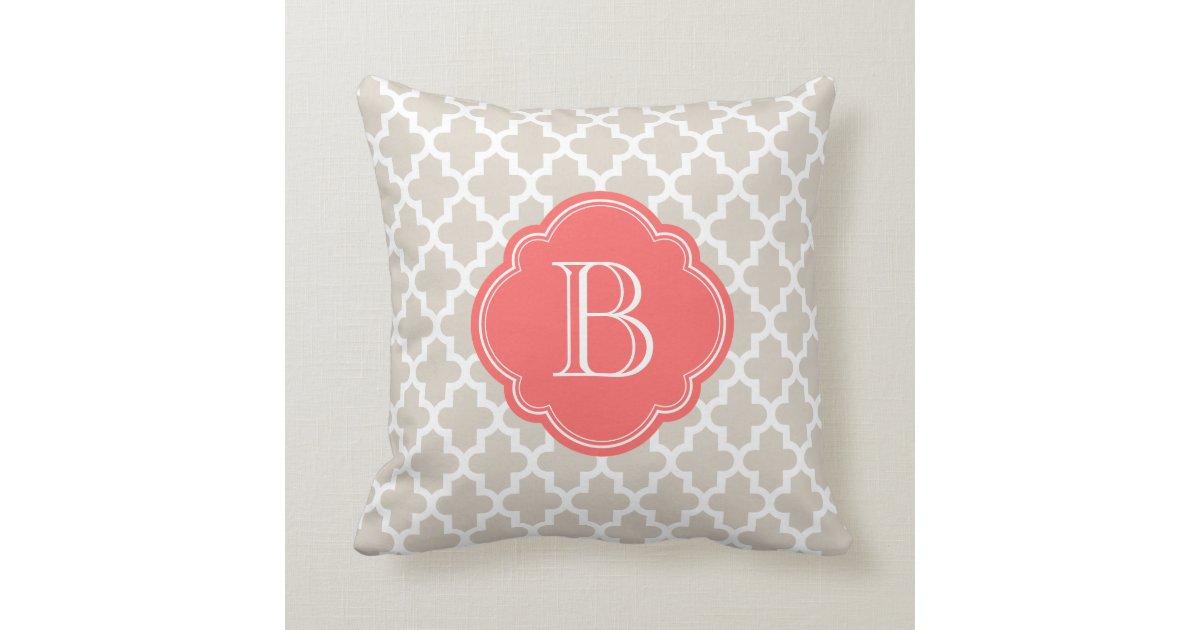 Modern Initial Pillow : Linen Beige & Coral Modern Moroccan Monogram Pillow Zazzle