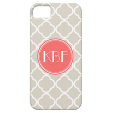 Linen Beige & Coral Quatrefoil Custom Monogram Iphone Se/5/5s Case at Zazzle