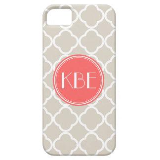 Linen Beige & Coral Quatrefoil Custom Monogram iPhone SE/5/5s Case