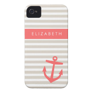 Linen Beige & Coral Stripes & Anchor Monogram iPhone 4 Case