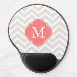 Linen Beige & Coral Zigzags Pattern Monogram Gel Mouse Pad