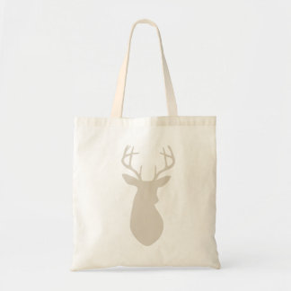 Linen Beige Deer Head Silhouette Tote Bag