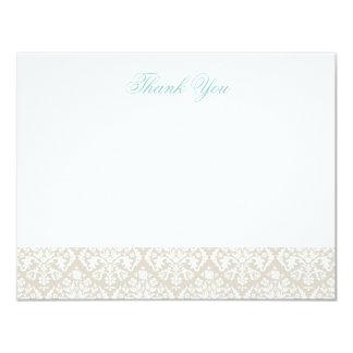 Linen Beige Elegant Damask Thank You Note Cards